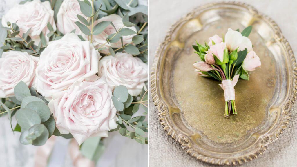 Bruidsboeket, bruidswerk, corsage roos, corsage roze, lijn 10, Fotograaf Regio Groningen